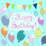Happy birthday illustration with balloon.  Royalty Free Stock Photography