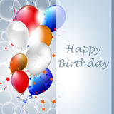 Happy birthday  illustration with balloons on the background Stock Photo