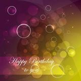 Happy birthday  illustration with bubbles, stars and light Royalty Free Stock Photos