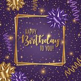 Happy birthday  illustration with confetti, bow and ribbons. Happy birthday  illustration with confetti, bow and ribbons Royalty Free Stock Photo