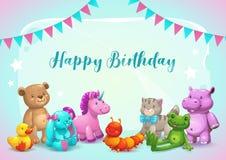 Happy Birthday illustration. Cute vector greeting card. royalty free illustration