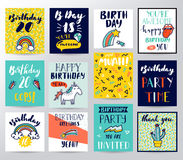 Happy birthday illustration. Happy birthday funny vector illustration Stock Photo