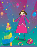 Happy Birthday Illustration of gift balloons and Royalty Free Stock Photo