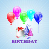 Happy Birthday. Illustration of a gift box and. Balloons. EPS 10 Royalty Free Stock Image