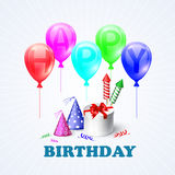 Happy Birthday. Illustration of a gift box and. Balloons. EPS 10 Royalty Free Stock Photos
