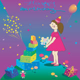 Happy Birthday. Illustration of gift girl and Royalty Free Stock Images