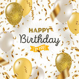 Happy birthday illustration. Golden foil confetti and white and glitter gold balloons Royalty Free Stock Images
