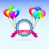 Happy Birthday. Illustration greeting card with. Balloons and ribbon. EPS 10 Stock Photos