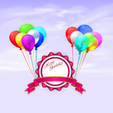 Happy Birthday. Illustration greeting card with. Balloons and ribbon. EPS 10 Stock Image