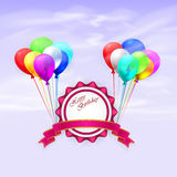 Happy Birthday. Illustration greeting card with. Balloons and ribbon. EPS 10 Royalty Free Stock Photography
