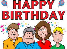 Happy Birthday. Illustration of a group grumpy bored looking people wishing a Happy Birthday Stock Images