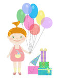 Happy birthday illustration with a little girl holding balloons. Stock Photo