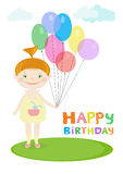 Happy birthday illustration with a little girl holding balloons. Royalty Free Stock Images