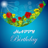 Happy birthday  illustration with red and yellow roses Stock Images