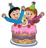 Happy birthday image for 9 years old. Eps10 vector illustration royalty free illustration