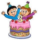 Happy birthday image for 3 years old. Eps10 vector illustration stock illustration