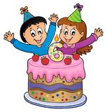 Happy birthday image for 6 years old. Eps10 vector illustration stock illustration