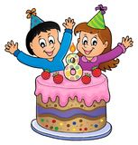 Happy birthday image for 8 years old. Eps10 vector illustration stock illustration
