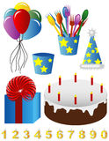 Happy Birthday Images. A collection of party favors and birthday images Stock Images