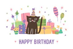 Happy birthday inscription and adorable cartoon cat in cone hat sitting against present boxes, balloons and confetti on