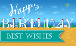 Happy Birthday Inscription. Cute white houses Royalty Free Stock Photo
