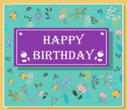 Happy birthday inscription with floral background Royalty Free Stock Photo