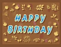 Happy birthday inscription with floral background Royalty Free Stock Photography