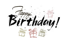 Happy birthday inscription. Greeting card with calligraphy. Hand drawn design. Black and white. Stock Image