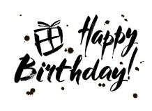 happy birthday inscription greeting card with calligraphy hand