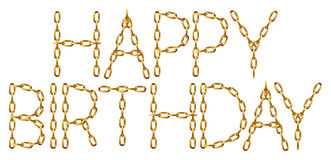 Happy birthday inscription with the letters made from golden chain Stock Images
