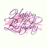 Happy birthday inscription with lipstick kiss. Greeting card template with calligraphy. Royalty Free Stock Photo