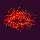 Happy birthday inscription with lipstick kiss. Greeting card template with calligraphy. Stock Image