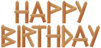 Happy birthday inscription made from wooden boards Stock Images