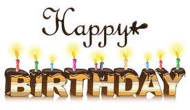 Happy birthday inscription. Maked from cake. Vector illustration Stock Illustration