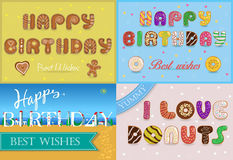 Happy birthday inscription by unusual font Stock Photos