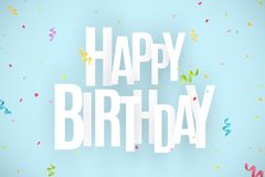 Happy birthday inscription. White paper chaotic letters on a light blue background. Explosion of multicolored confetti. Festive gr. Aphic element. Vector Stock Photography