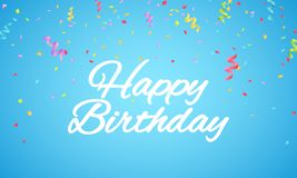 Happy birthday inscription. White paper letters on a blue background. Explosion of multicolored confetti. Festive graphic element. White text. Vector Stock Image