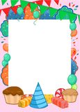 Happy Birthday Invitation Bright Template. With frame for text and colorful party elements vector illustration Stock Photos