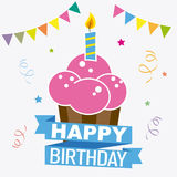 Happy birthday invitation. Candle with candle with white background Royalty Free Stock Images