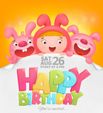 Happy Birthday invitation card with girl in pink bunny costume. Vector illustration Stock Photo
