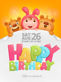 Happy Birthday invitation card with girl in pink bunny costume. Vector illustration Royalty Free Stock Images
