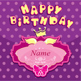Happy birthday - Invitation card for girl with pri Stock Photo