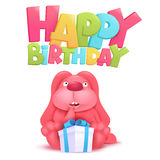 Happy birthday invitation card with ping bunny and gift box Stock Image