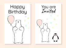 Happy birthday and invitation card with a polar bear and a penguin. A polar bear holds an air balloon. Penguin with funny glasses Stock Images