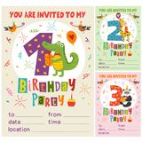 Happy Birthday invitation card template with funny animals from 1 to 3. Vector illustration, eps royalty free illustration