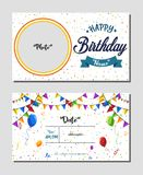 Happy Birthday invitation card template, Vector illustration of birthday party background stock photos