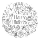 Happy Birthday invitation card. Vector illustration Stock Photos