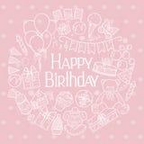 Happy Birthday invitation card. Vector illustration Royalty Free Stock Photo
