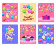 Happy birthday invitation cards set Stock Images