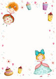 Happy Birthday Invitation.Party Invitation.Cute Small Princesses  With Cupcakes  Flowers, Hearts.